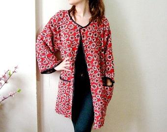 Red Floral Jacket, Plus size Ladies Jacket, Women cotton long jacket, Oversize Open Front Blazer Poppy jacket