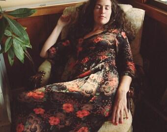 Size Small... 1970s Joseph Magnin Boho Dark Floral Maxi Dress... 70s Angel Sleeve Semi Sheer Floral Dream Dress