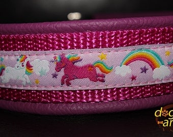 "Dog Collar ""Unicorn"" by dogs-art, martingale collar, leather dog collar, unicorn, unicorn collar, girl dog collar, cute dog collar, collars"