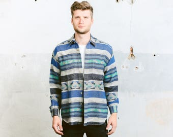 Aztec Southwestern Shirt . Mens Vintage 90s Striped Shirt Aztec Jacket Blue Long Sleeve Button Down 90s Grunge Shirt . size Medium