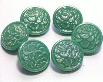 Vintage Green Glass Buttons 19mm Beautiful AB Luster Set of 6 with shanks