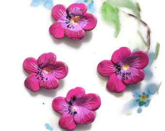 Vintage Pansy Findings Stampings Hand painted NOS Components Brass Pansies flowers painted Patina Enamel Shabby Chic Flowers OLD. #929B