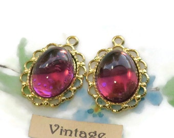 Vintage Swarovski charms Amethyst Drops Oval Gold plated Lace Settings Rare Beautiful glass Gorgeous NOS. #1162E