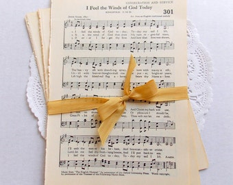 Bundle of Vintage Hymnal Music Sheet Pages / 20 Pieces / Vintage Ephemera / Music Sheets
