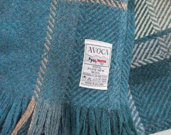 Avoca  Weavers Wool Throw Herringbone Blanket Made in Ireland Vintage Teal Blue Tan Cream 56 x 70