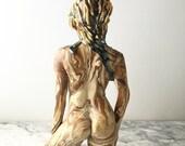 Figure sculpture vase vessel, ceramic art nude figurine torso body goddess statue home decor centerpiece agateware slip textured pottery
