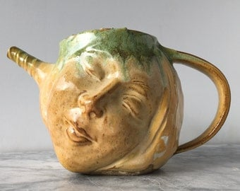 Art Teapot Dreaming of Spring Face Sculpture Surreal Pottery Figure Head Serving Vessel