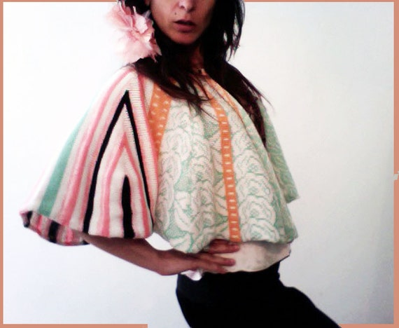 Cape Clothing. Silk, cotton and lambswool. Rose in Wonderland by KNIT MYSTIQUE