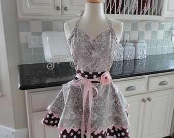 Choclate Eclaire  ~ Chocolate Brown & Pink  ~ Women's Sadie Style Apron ~ 4RetroAprons