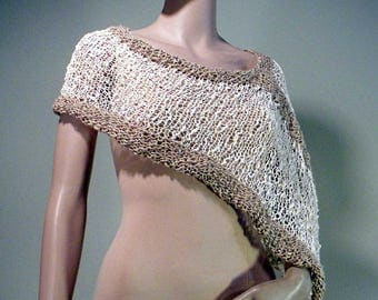 ELEGANT PONCHO/CAPLET - Wearable Fiber Art, Loosely Knitted, Italian Top Quality Yarn