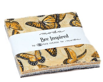 BEE INSPIRED Moda 3 charm packs Fabric Deb Strain sewing quilting honey butterfly beehive hexagons 5 inch squares