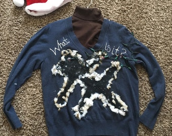 Ugly Sweater Christmas Vacation Cat with 9 lives