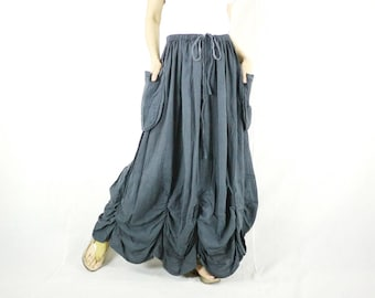 PLUS SIZE SKIRT...Bring Me To The Moon - Steampunk Maxi Flare Charcoal Grey Cotton Skirt With Ruching Detail Around Bottom Hem