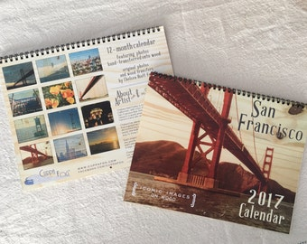 SALE - 2017 San Francisco Landmarks Calendar - Distressed Photo Transfers on Wood