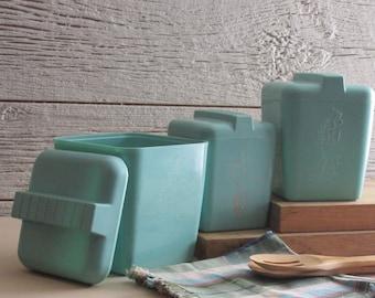 Vintage canisters - Aqua – retro kitchen decor - turquoise