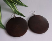 Round Wood Earrings in Coffee  Wooden Earrings Brown Natural Stained Wood