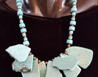 Turquoise and howlite necklace