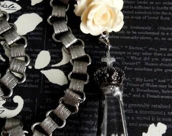 TUDOR ROSE & Crowned Cross Crystal Necklace. Vintage Carved Yellow Bone Rose. Book Chain. Soldered Prism. Artisan Renaissance Assemblage