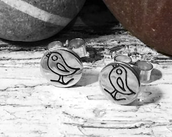 Silver Earrings with Cute Birds, Silver Studs, Round Studs, Small Studs