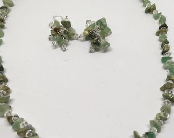 Jade Necklace and Earrings Set