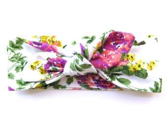 Spring Floral Baby Headband - Top Knot Headband - Stretch Headband - Modern Style - Boho Baby - Flowers - Floral Print - Springtime Garden