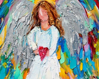 Angel of my Heart painting original oil 6x6 palette knife impressionism on canvas fine art by Karen Tarlton