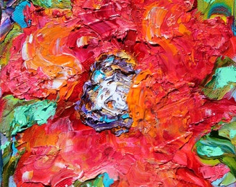 Poppy painting original oil 6x6 palette knife impressionism on canvas fine art by Karen Tarlton