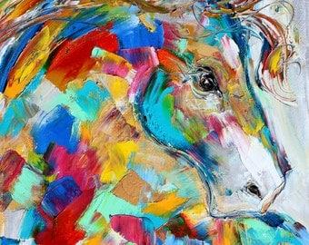Horse Portrait painting original oil abstract impressionism fine art impasto on canvas by Karen Tarlton