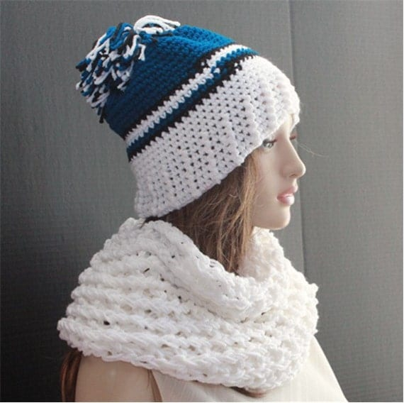 items similar to womens hat scarf set matching cowl scarf
