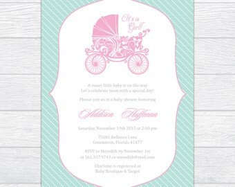 Elegant Carriage Baby Girl Shower Invitation, Gender Reveal Baby Shower Invitation, Personalized Baby Shower Invite, Printable Baby Shower