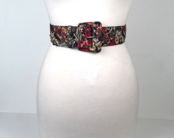Vintage 1980s Black Floral Wide Belt
