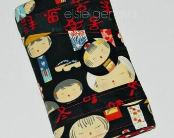 Japanese Dolls Words Dots Spill Proof Crochet Hook Case Organizer Case Black Red Sewn in Zipper Pocket Clover Polymer Clay Soft Grip