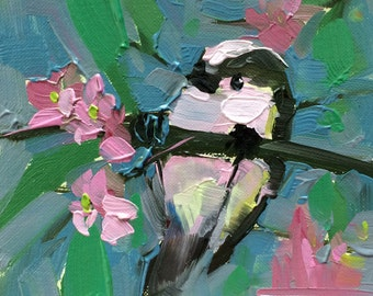 Long Tailed Tit no. 18 Original Bird Oil Painting by Angela Moulton 5 x 5 inch Mounted on Maple Panel pre-order