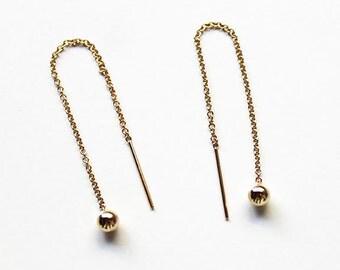 Gold Ball Threader Earrings