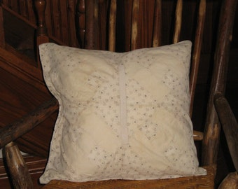 "Antique Quilt Pillow Cover 18"" Early Fabrics 1800 Primitive Farmhouse Cottage Cabin Decor White Cream Cotton Calico Fabrics Shamrocks Irish"