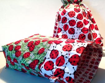 "10"" Ladybug Drawstring Bags, Craft Project Bag, Gift Bags, Shoe Bags"