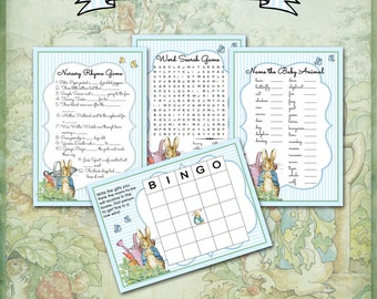 Baby Shower Games / PETER RABBIT / Bunny / Word Search, Bingo, Nursery Rhyme, Baby Animals / Baby Boy / Blue and White Stripes