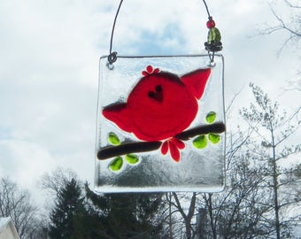 REd Bird of Happiness // Fused Glass Suncatcher // Ornament // Fused Glass Bird  // Cardinal// Small // Get Well // Cute //Tree//Sun Catcher