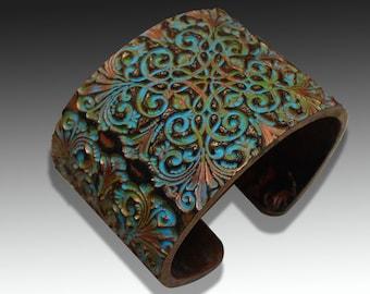 Victorian elegance polymer clay cuff bracelet