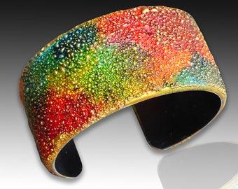 Textured polymer clay cuff bracelet