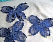Set of 3 Navy blue crochet butterflies