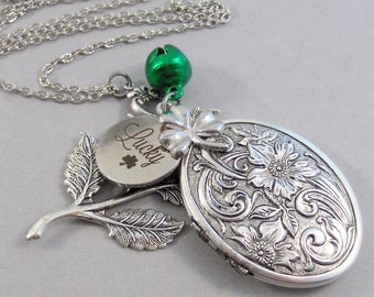 lucky,Irish Necklace,Good Luck,Shamrock Necklace,Lucky Necklace,Irish Locket,Irish Jewelry,Shamrock Locket,Saint Patricks valleygirldesign