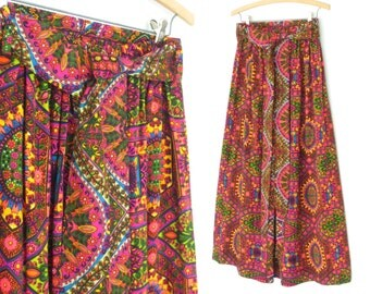 60s Maxi Skirt * Vintage 1960s Skirt * Psychedelic Skirt * Large - XL
