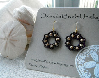 Beaded Wreath Earrings aubergine purple gold