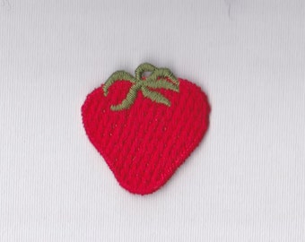 "Red Strawberry Appliqué ~ 1 3/4"" x 1 3/4"" Machine Embroidered Stitched Strawberry Shape With Leaves - Embellish Clothing - Scrap Booking -"
