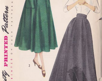 Vintage Misses 6 Gore Daytime Or Evening Skirt Pattern ~ Simplicity Pattern No 3015 ~ Waist Size 28 ~ Hip 37 ~ Simple to Make ~ Uncut