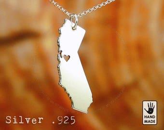 CALIFORNIA  State, sterling silver pendant, sterling silver chain, custom heart