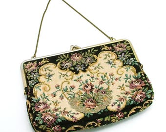 Vintage Tapestry Purse In Golden Frame Victorian Style Florals On Chain