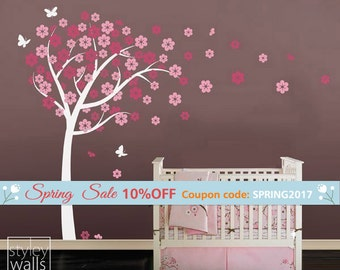 Cherry Blossom Tree-Tree Wall Decal Sticker -Nursery Vinyl Wall Decal- Flowers Cherry Tree with Butterflies - Wall Decor Blossom Wall Decal