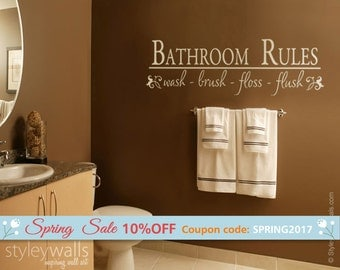 bathroom rules wall decal bathroom vinyl lettering wash brush flush bathroom wall quote wall